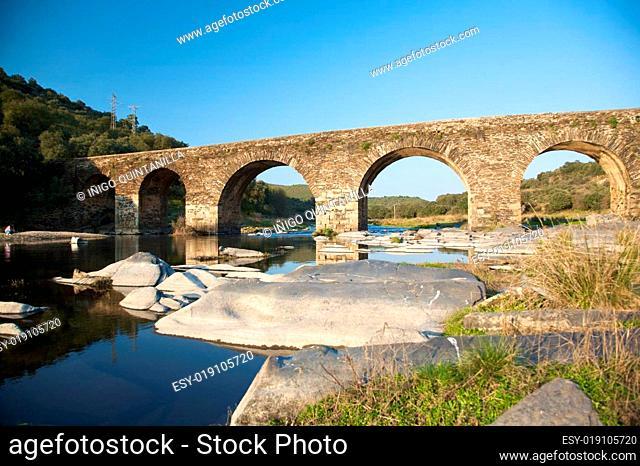 ancient bridge on a river in salamanca