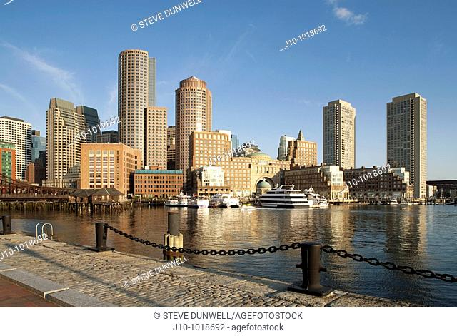 Rowes Wharf skyline view from court house, Boston, Massachusetts, USA