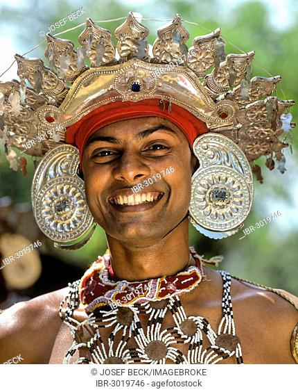 Kandyan dancer in traditional costume, headdress, silver, portrait