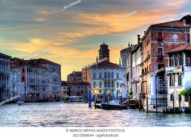 The Grand Canal at Sunset. Venice Italy