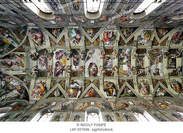 Sistine Chapel ceiling by Michelangelo, Sistine Chapel, Vatican Museums, Vatican City, Rome, Italy
