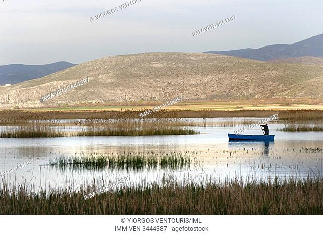 Fisherman in Lake Vegoritida that sits between the prefectures of Pella and Florina. Kaimaktsalan mountain visible in the background