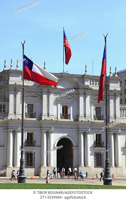 Chile, Santiago, Plaza de la Constitucion, Palacio La Moneda,