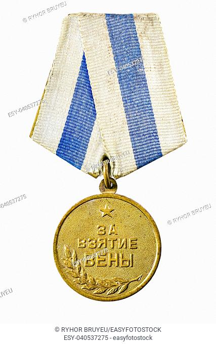 MINSK, BELARUS - FEB 06: Russian (soviet) medal for participation in the Second World War, February 06, 2014