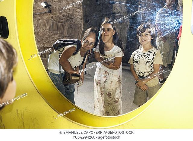 Children visiting Trajan's Forum, Rome, Italy