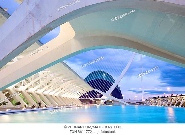 VALENCIA; SPAIN - JANUARY 18; 2016: The city of the Arts and Sciences in Valencia, Spain, designed by Santiago Calatrava architect