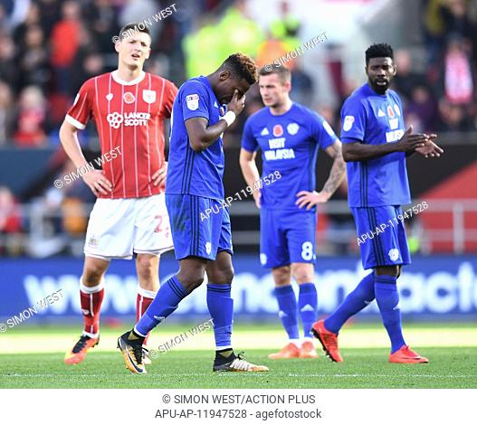 2017 EFL Championship Bristol City v Cardiff City Nov 4th. 4th November 2017, Ashton Gate, Bristol, England; EFL Championship football