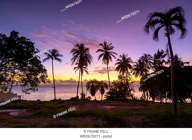 West Coast sunset, St. James, Barbados, West Indies, Caribbean, Central America