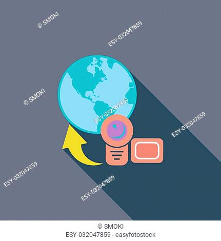 Upload video icon. Flat vector related icon with long shadow for web and mobile applications. It can be used as - logo, pictogram, icon, infographic element