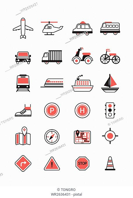 Various line icons related to transportation