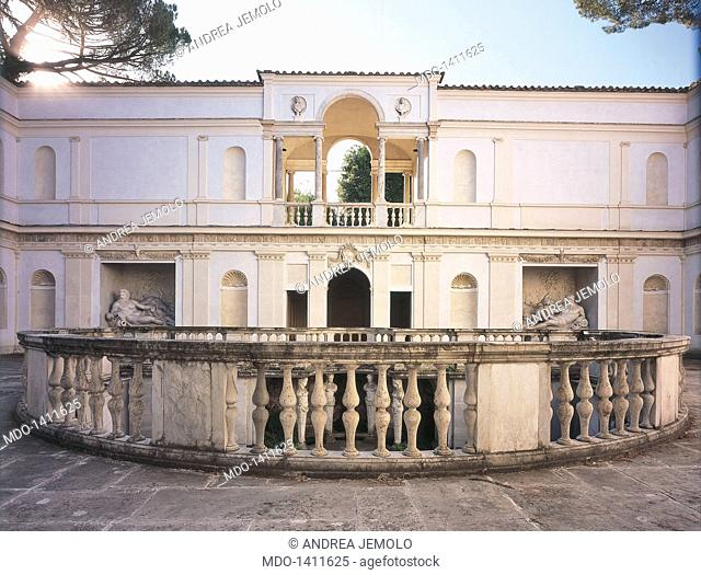Villa Giulia, by Ammannati Bartolomeo, Barozzi Jacopo known as Vignola, 1550 - 1553, 16th Century, visible Roman brick work and travertine, yellow ochre plaster