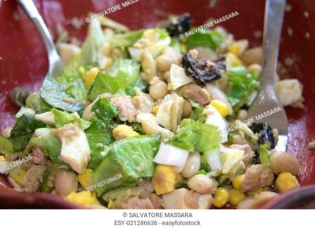 mixed salad with tuna beans eggs and olives