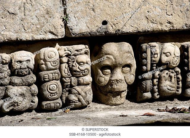 Honduras, Copan Ruins, Mayan Archaelogical Site, East Court Patio De Los Jaguares, Gate With Carved Skulls, Detail