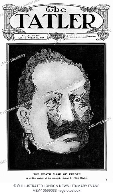 Front cover of The Tatler entitled, 'The Death Mask of Europe, ' featuring a caricature of Kaiser Wilhelm II comprised of fighting and dead soldier figures