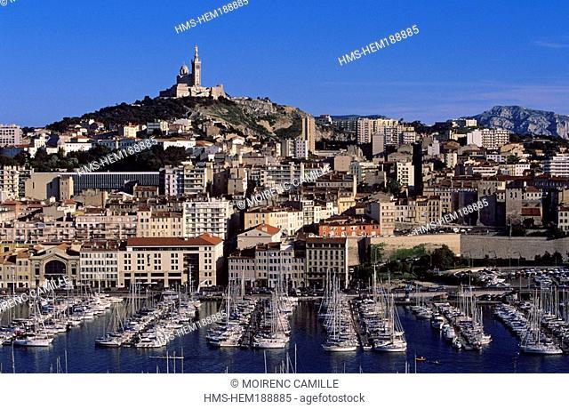France, Bouches du Rhone, Marseille, Vieux Port and Notre Dame de La Garde Church