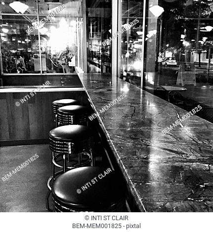 Empty counter and bar in diner restaurant