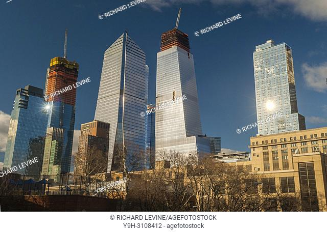 10 Hudson Yards, center left, 30 Hudson Yards, center right, and other Hudson Yards development in New York on Sunday, March 4, 2018