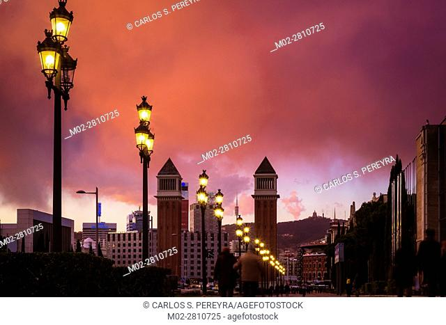Venetian towers in the main entrance to Montjuic Barcelona Catalonia Spain
