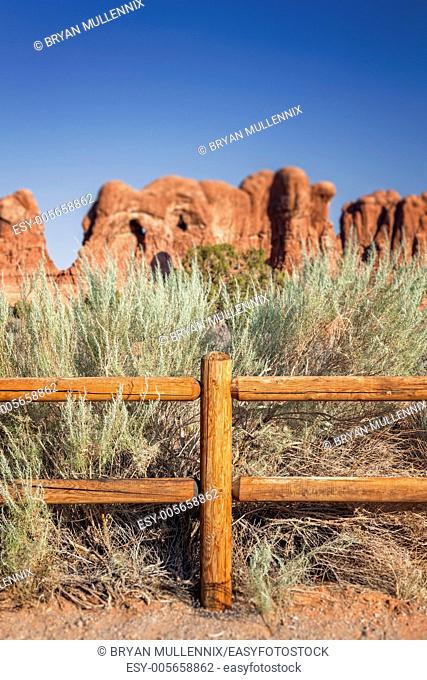 Wooden Fence in Desert, Arches National Park, Moab, Utah