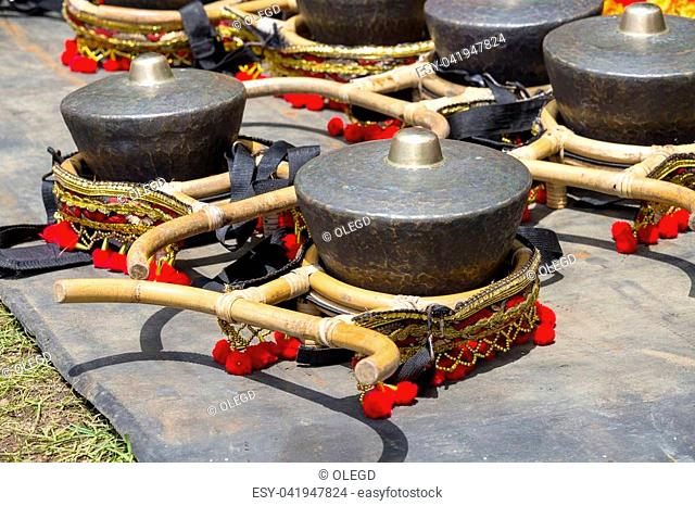 Traditional musical instruments used in Gamelan orchestra played in leather puppet show, Gamelan instruments, Javanese traditional musical instruments used in...