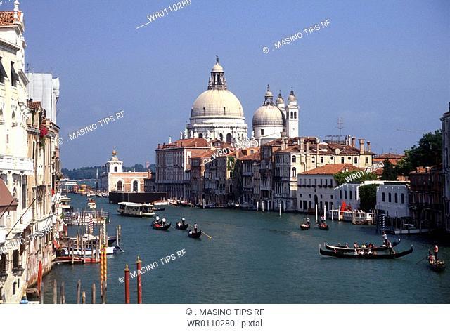 Italy, Venice, view of Santa Maria della Salute from the Canal Grande
