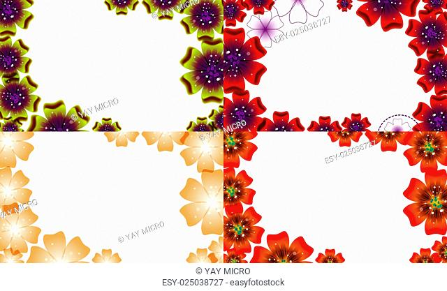 Set of Abstract flower background with place for your text