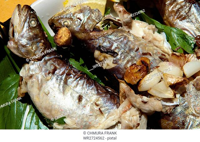 Baked Trout with Garlick and Mushrooms