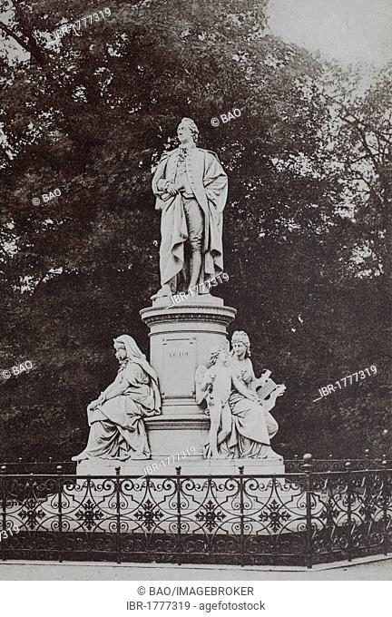 Goethe monument in the Tiergarten park, Berlin, Germany, historical image, about 1899