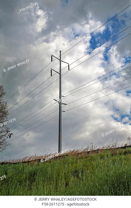 Power lines, East Tennessee in the spring, USA