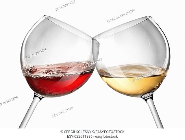 Moving red and white wine glass over a white background