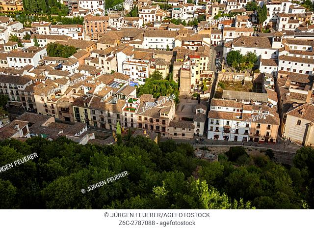 The Albaicin from above, view from the Alhambra, Granada, Andalusia, Spain