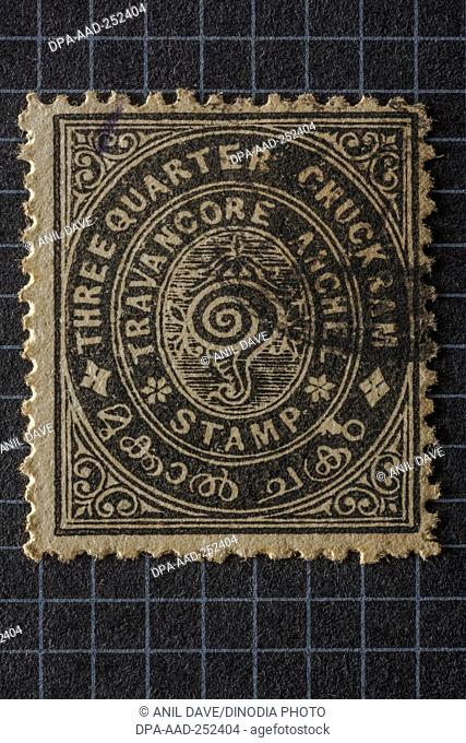 Travancore anchel, postage stamps, india, asia