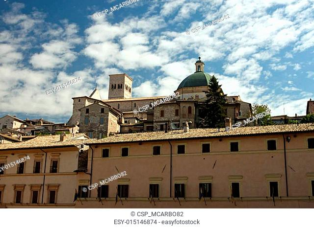 view of the church in Assisi