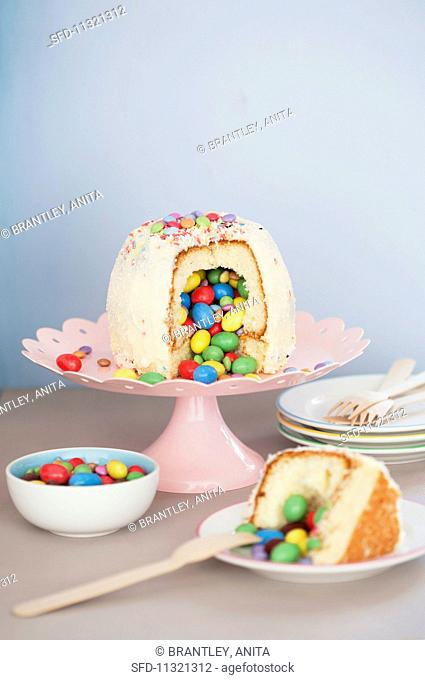 A pinata cake or surprise cake for a child's birthday