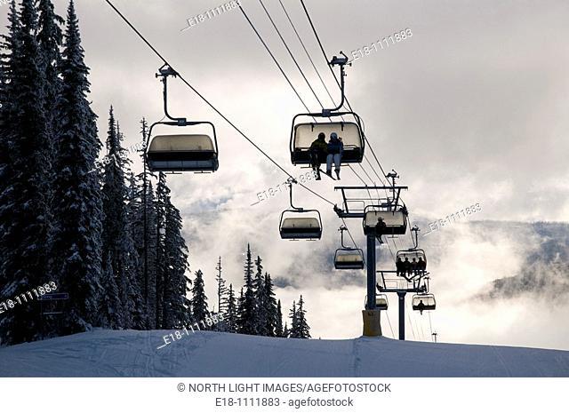 Canada, BC, Sun Peaks Ski Resort  High speed quad chairlift, Sunburst