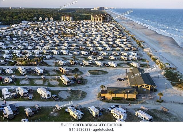 South Carolina, SC, Atlantic Ocean, Myrtle Beach, Myrtle Beach RV Travel Park, recreational vehicles, caravan park, campground, aerial, bird's-eye view