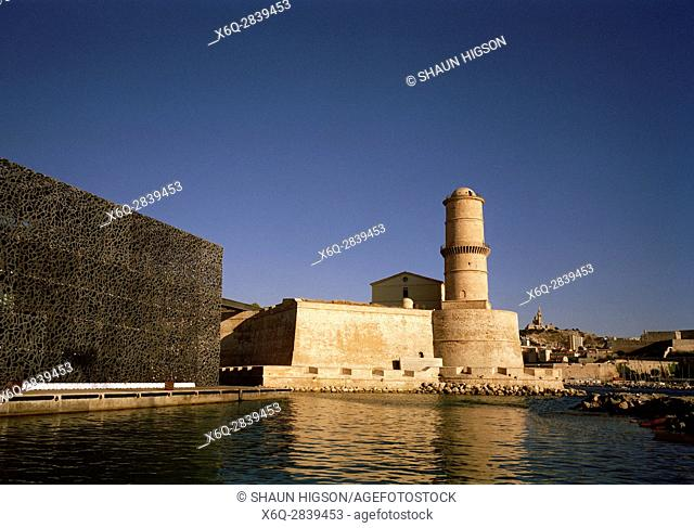 Fort Saint-Jean and the MuCEM in Marseille in Provence in Bouches du Rhone in France in Europe