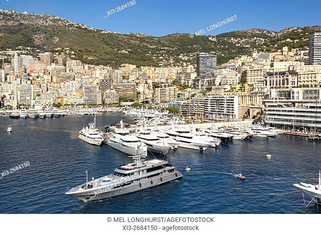 Yachts moored in Monaco Harbour, Port Hercule, and La Condamine, Monaco, Cote D'Azur, France