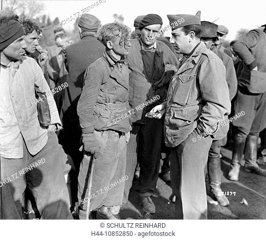 10852850, World War II, slave, talking, labor camp