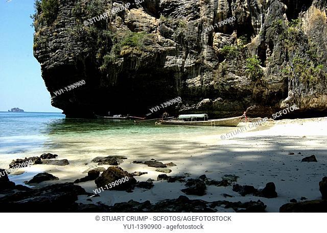 Limestone Cliffs and beach, Podo Island, Krabi,Thailand, Far East, Asia