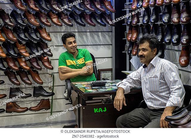 Shoe shop, Grand bazaar in Tehran, Iran