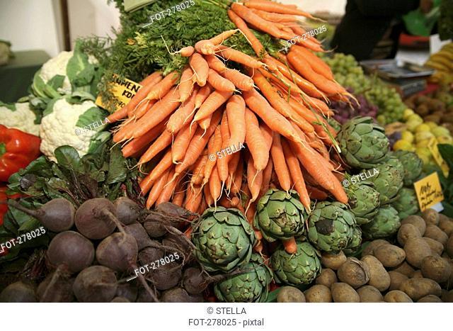 Assorted vegetables at market