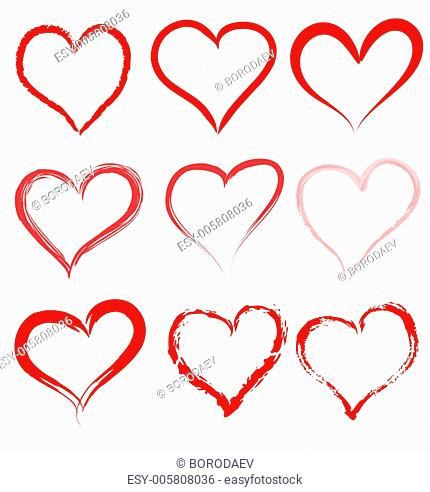 Collection of red artistic hand drawn hearts