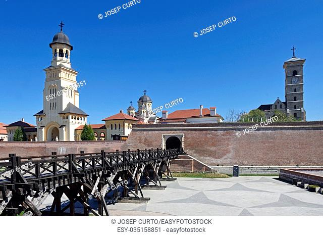 Walls and cathedral of the Romanian Orthodox Church and Michael's Cathedral of Alba Iulia, Transylvania, Romania