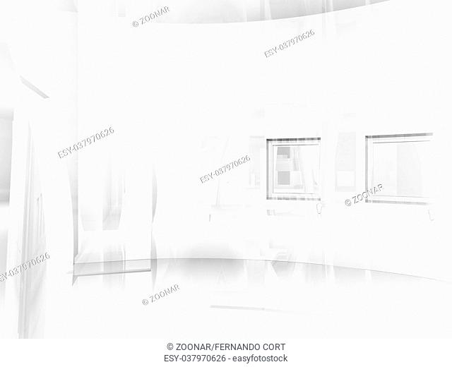 open space, clean room with shapes in 3d, business space, hospitals or art gallery