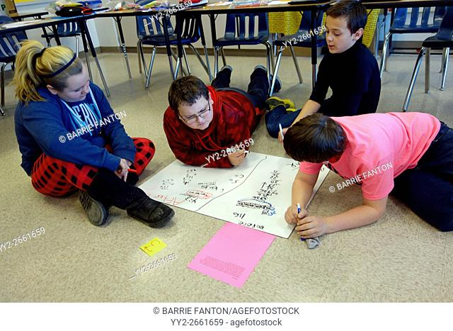 6th Graders Solving Math Problem as a Group, Wellsville, New York, USA
