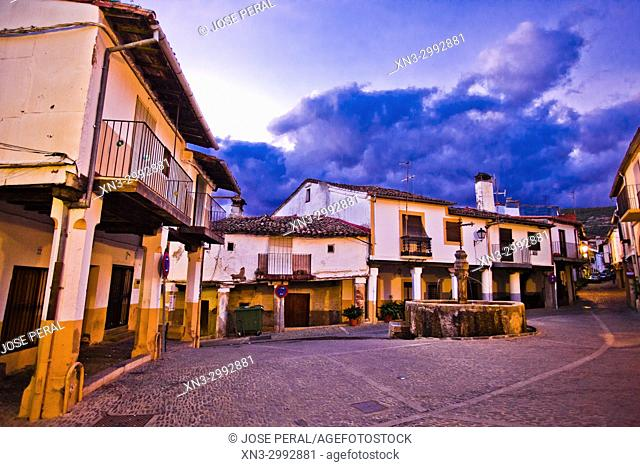 Plazuela Tres Chorros square, Guadalupe town, Caceres Province, Extremadura, Spain, Europe