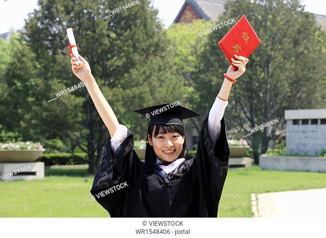 portrait of college female graduate