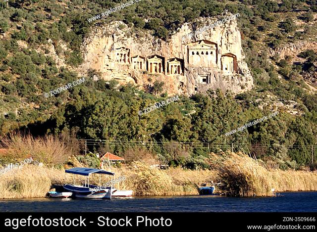 Rock graves and river near Dalyan Turkey