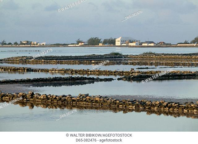 Turks & Caicos, Salt Cay Island, Historic Former World's Greatest Producer of Salt: Morning View of Island Salinas (Salt Ponds)